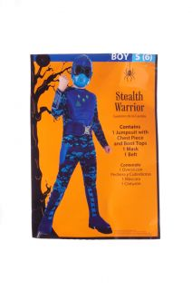 Boys Stealth Warrior Halloween Costume Army Soldier Fighter Gas Mask Small 6 New