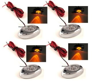 4 Orange Amber LED Chrome Modules Motorcycle Chopper Frame Neon Glow Lights Pods