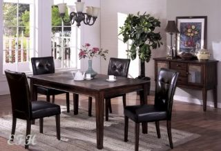 New 5pc Walnut Wood Dining Table Set Slate Top