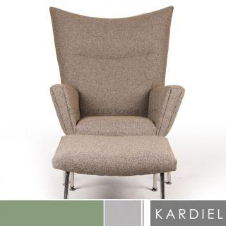 hans j wegner style wing chair ottoman danish modern mid century