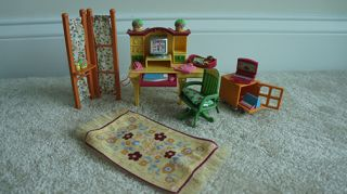 Fisher Price Loving Family Dollhouse Home Office Furniture Desk Chair Rug Lot