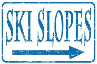 Ski Slopes Aluminum Metal Traffic Parking Road Street Sign Wall Decor