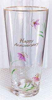 Fenton ArtGlass Happy Anniversary Rose Vase