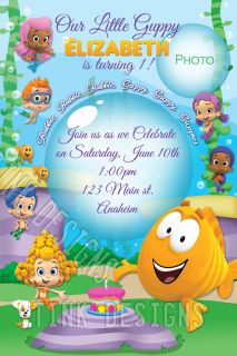 Bubble Guppies Birthday Invitations Custom Personalized Fish Sea Ocean Guppy