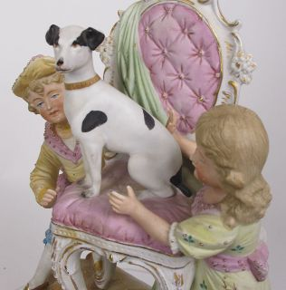 Antique Ornate German Porcelain Figures Statue Gold Boy Girl Dog Chair Yqz