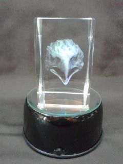 3 D Laser Etched Crystal Glass American Eagle Head Pride Paperweight