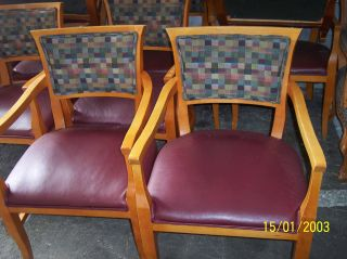 ... 4 X Shelby Williams Designer Captain Arm Chairs Mosaic Antique Soft  Leatherette ...