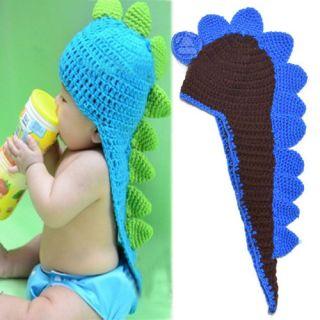 Cut Toddler Baby Girls Boys Dinosaur Animal Crochet Knit Woolly Cap Pigtail Hat