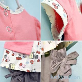 3 Pcs Kids Baby Girls Fruits Pattern Top Pants Hat Set Outfits 0 3 Years Clothes