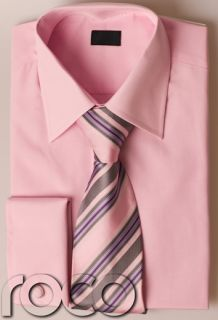 Mens Pink Wedding Formal High Quality Cheap Smart Shirt Tie Set for Suits