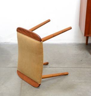 1950s Danish Modern Teak Stool Chair Ottoman Hans Wegner Mid Century