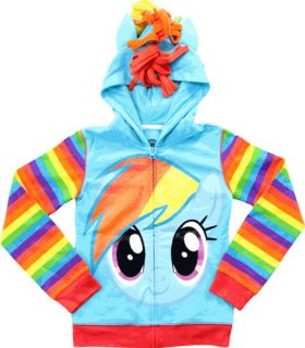 Child MLP My Little Pony Rainbow Dash Face Wings Tail Costume Hoodie Sweatshirt