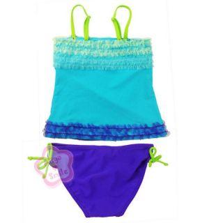 Girl 2PC Tankini Swimsuit Kid Swimming Costume Beachwear 2 7 Years