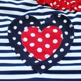 Girls Toddlers Striped Heart Swimsuit Swimwear Bathing Suit Swimming Costume 2T