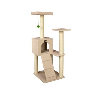 "53"" Wooden Step Cat Tower Tree Condo Scratcher Furniture Play Kitten House Ivory"