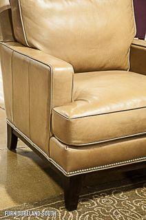 Bradington Young Crosby Tan Leather Sofa Chair Ottoman Set