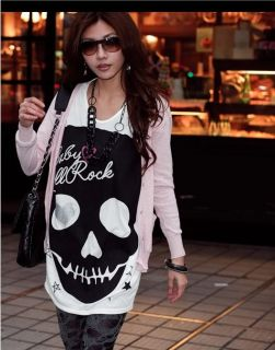 New Women's Fashion Cute Japanese Punk Skull Sexy Fun Top Shirt 3 Colors