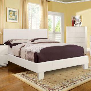 Winn Contemporary Style White Finish Leatherette Platform Bed Frame Set