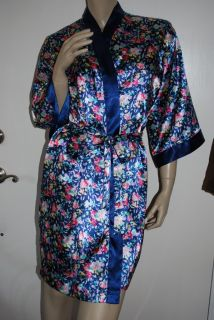 Victorias Secret Size s Satin Robe Short Navy Blue Pink Floral Gold Label
