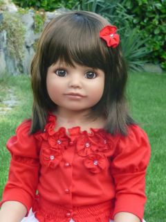"New Debbie Monika Peter Leicht Masterpiece Doll 32"" Brunette Hair Brown Eyes"