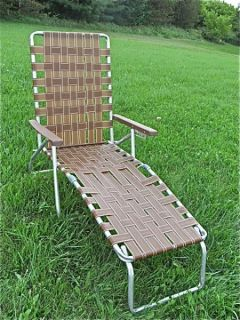 Vintage aluminum folding webbed reclining lawn chair for Aluminum web chaise lounge