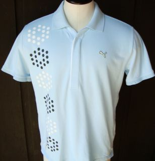 Puma Triple Logo Polo Golf Shirt Mens L Baby Blue