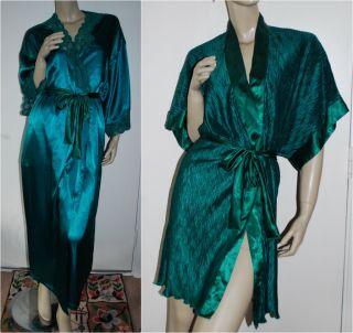 Victorias Secret Long Emerald Green Robe Satin Lace Maidenform Crinkle Robe s L