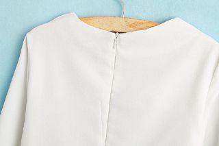 Vintage Womens White Round Neck Long Sleeve Floral Pattern Slim Dress Sz M WLM10