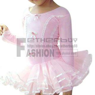 Girl Kids Pink Ballet Dance Dress Costume Tutu Skirt Leotard Dancewear 3 6 Years