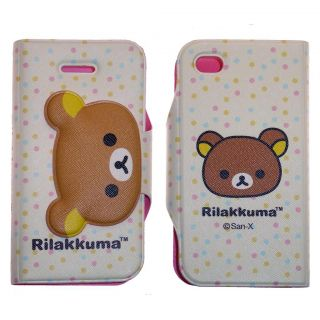 iPhone 4 Rilakkuma Cartoon Teddy Bear Wallet Case Cover Pouch Brown Polka Dots