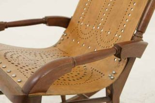 Antique Bentwood Rocking Chair with Wooden Seat and Back