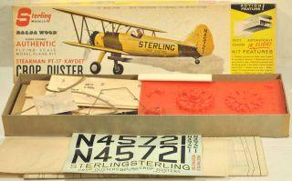 Sterling Stearman PT 17 Kaydet Crop Duster Wood Flying Model Airplane Kit