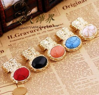Men Women Arty Oval Cross Knuckle Stone Armor Cocktail Chunky 8 Color Gold Ring