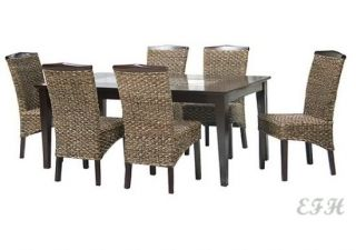 7pc Batu Glass Insert Espresso Wood Dining Table Set