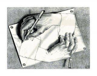M C Escher Hand Drawing Hand Cross Stitch Pattern