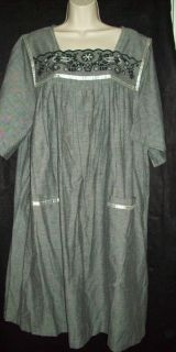 Go Softly 100 Cotton Patio Muu Duster House Dress Woven Black w Silver s XL