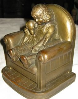 """Best "" Huge Antique Armor Bronze Girl Dog Book Art Statue Sculpture Bookends"