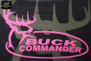 "Buck Commander Dynasty Fleece Throw Blanket Black and Pink Logo 50"" x 60"" Duck"