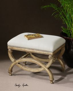 Isabelle Small Classic French White Mahogany Linen Bench Stool