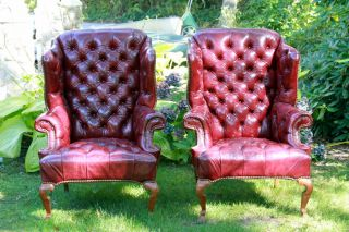 Pair of Vintage Leather Tufted Wing Chairs Burgundy