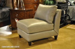Envision by Bradington Young Wiki Green Gray Leather Armless Chair