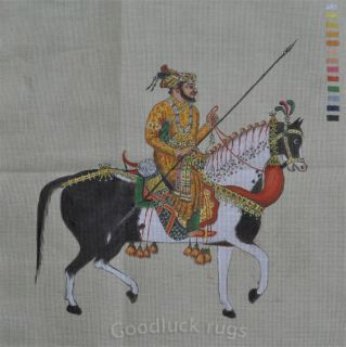 Hand Painted Needlepoint Canvas Indian Mughal Mogul Empire Emperor Shah Jahan