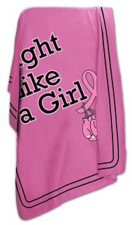 Fight Like A Girl Breast Cancer Awareness Item Fleece Blanket Throw