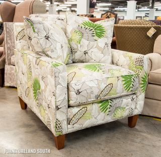 Capris Furniture Angela Grass Grey and Green Floral Arm Chair