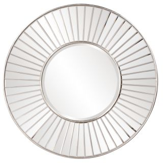 "Beveled Wall Mirror on Mirror Silver Round Large 42"" Modern Contemporary"