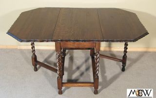 Antique 5ft Oak Barley Twist Piecrust Gateleg Table