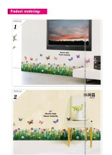 Wall Stickers ★ Dancing Butterflies Grass Bathroom Decor Quote Wall Decals Art