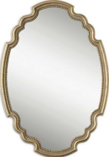 Large Decorative Oval Wall Mirror Gold Leaf Beaded Trim Italian French Decor