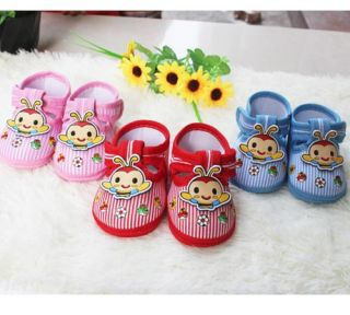 Infant Princess Prince Baby Shoe Little Cartoon Bee Red Soft Bottom Size 14