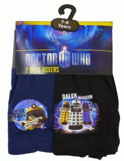 Boys Pack of 2 Doctor Who Daleks Invasion Cotton Boxer Shorts 5 12 yrs New
